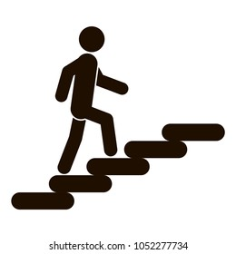 Man on Stairs going up. Stairs icon. Vector illustration