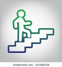 Man on Stairs going up. Vector. Green to blue gradient contour icon at grayish background with light in center.