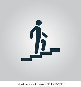 Man on Stairs going up. Flat web icon or sign isolated on grey background. Collection modern trend concept design style vector illustration symbol
