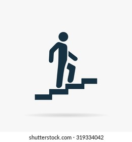 Man on Stairs going up. Flat vector web icon or sign on grey background with shadow. Collection modern trend concept design style illustration symbol