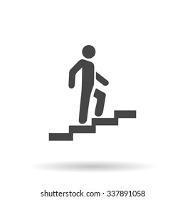 Man on Stairs going up. Icon Vector