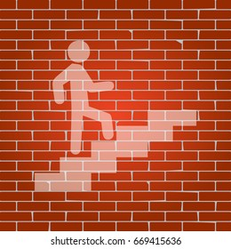 Man on Stairs going up. Vector. Whitish icon on brick wall as background.