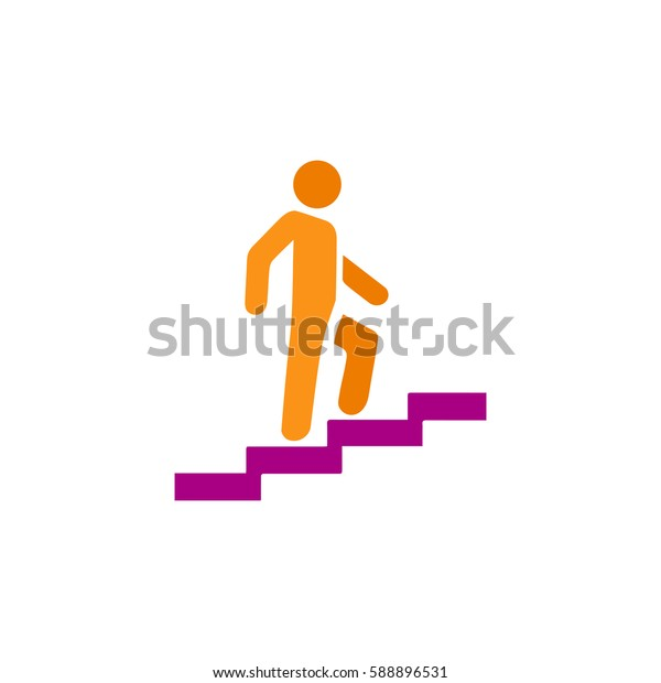 Man on Stairs going up. Color symbol icon on white background. Vector illustration