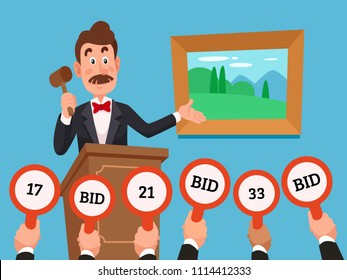 Man on stand leading auction hold gavel. People businessman character make bets on auctions bidding by raising bid paddles with numbers to buy a piece of art colorful vector flat concept illustration