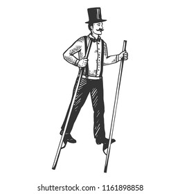 Man on stilts engraving vector illustration. Scratch board style imitation. Black and white hand drawn image.