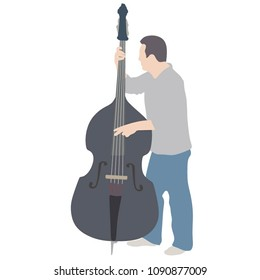 Man on street vector silhouette illustration playing contra-bass. Music man standing on the concert event. Contra bass artist. Classic music instrument event.