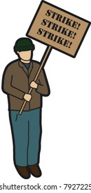 man on strike/ protesting