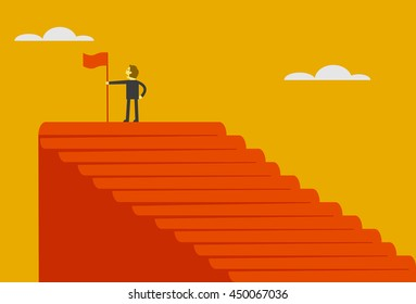 man on the top of stairs