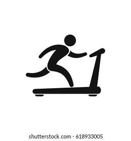 Man on treadmill icon. Vector isolated sport run illustration.