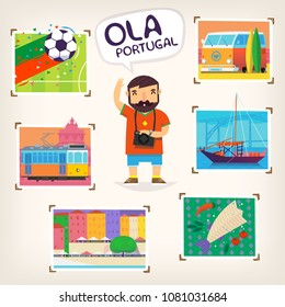 Man on vacation taking pictures of various sights of Portugal. Vector greeting poster