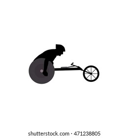 man on wheelchair black silhouette isolated on white background