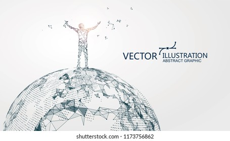 The man with open arms stands on the earth, conceptual graphic design.
