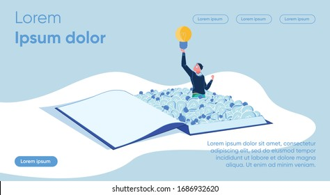 Man from an Open Book Raises Glowing Light Bulb. Use Information Communication Technologies in Educational Process. Information Technology. Ability to Receive Information from Different Sources.