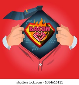 """man open shirt to show """"Bacon"""" typographic in cartoon style - vector illustration"""