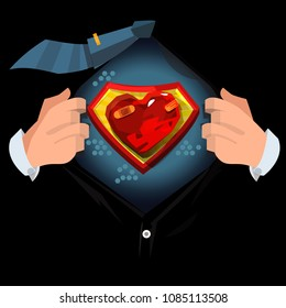 """man open shirt to show """"Painful or hurt heart"""" in cartoon style. Broken heart concept - vector illustration"""