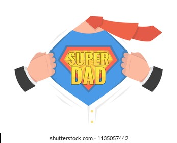 Man open shirt to show shield badge with text. Super Dad sign. Vector illustration.