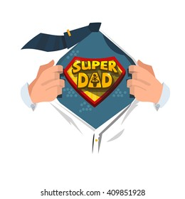 "Man open shirt to show ""Super Dad typographic "" in comic style. super father concept. typographic design - vector illustration"