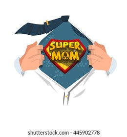 """man open shirt to show """"supermom text """" supermom concept - vector illustration"""