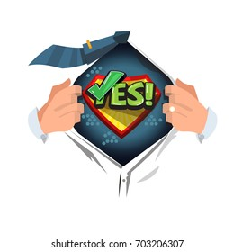 "man open shirt to show ""Yes"" typographic or symbolic. say yes to everything concept - vector illustration"