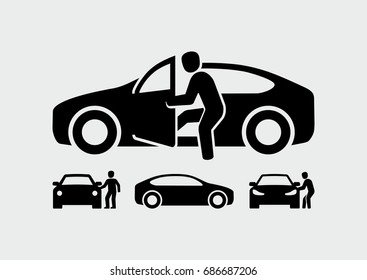 Man opening car door vector icon