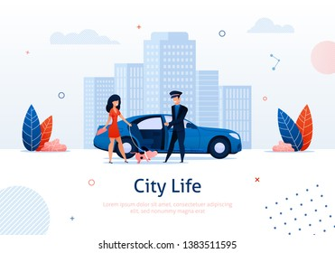 Man Opening Door of Car for Woman with Dog on Cityscape Background Banner Vector Illustration. Luxury Service for Transportation around Town. Rich Person Travelling with Animal on Leash.
