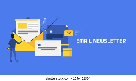 Man opening email newsletter - Email marketing concept - Newsletter Subscription flat vector banner isolated on blue background