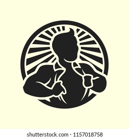 Man opening his shirt vector silhouette icon