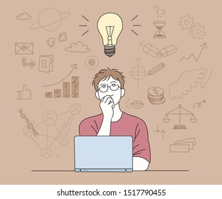 A man is opening a laptop and thinking about ideas. Shiny light bulb and doodle icons. hand drawn style vector design illustrations.