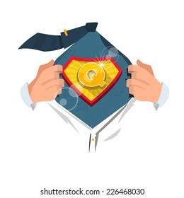 "man opening shirt to show alphabet ""Q"" in superhero style. alphabet concept - vector illustration"