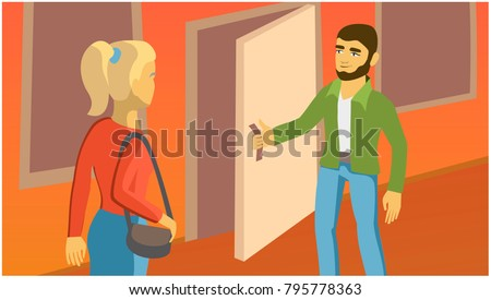 man opens the door for the girl. interpersonal relationships. vector