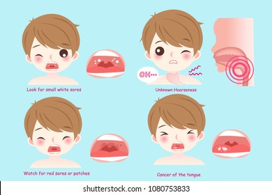 man with oral cancer on the blue background