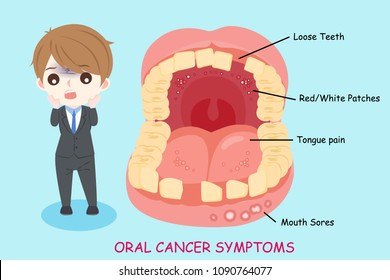 man with oral cancer symptoms on the blue background