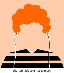 man with orange hair and earphones
