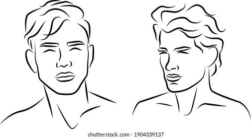 man outline silhouette portrait drawing