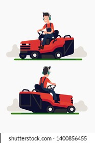 Man in overalls mows lawn grass with ride on mower going back and forth. Gardener character using lawn maintenance machine, back and front views