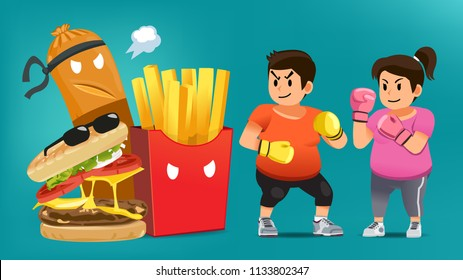 Man overcoming the desire to eat junk food.Fight for weight loss. Winning your mind for a good shape.