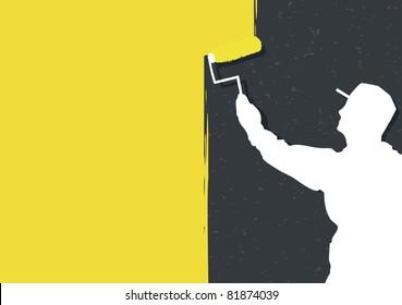 Man painting wall vector