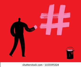 Man paints hash tag, Vector Illustration, Red background, creating hash tags, more likes, social media concept, digital marketing, making hashtags, pioneer, instagram man, twitter person, facebook tag