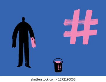 Man paints Hashtag with Hand, creating hash tags, more likes, social media concept, digital marketing, making hashtags, pioneer, instagram man, twitter person, facebook, tag, instagram, hash tag