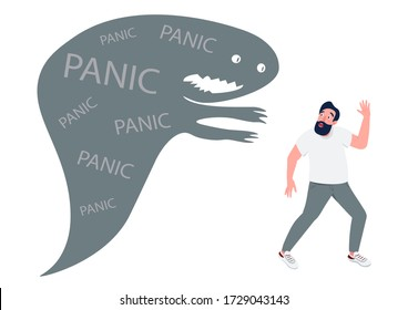 Man with panic attack flat concept vector illustration. Guy running from monster in panic 2D cartoon character for web design. Terrified person escaping problems. Anxiety, phobia creative idea