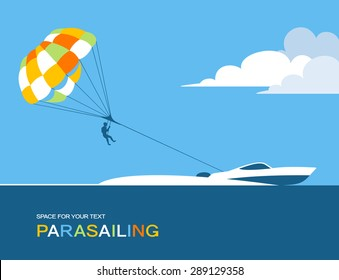 Man parasailing with parachute behind the motor boat