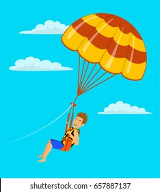 man parasailing in the sky cartoon vector illustration