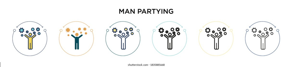Man partying icon in filled, thin line, outline and stroke style. Vector illustration of two colored and black man partying vector icons designs can be used for mobile, ui, web