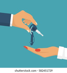 Man pass car keys female. Give, take the car key. Buy, rent a vehicle. Woman driving. Vector illustration flat design. Isolated on background.