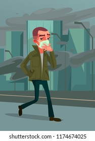 Man passer character wearing protective face gas mask and walking on street. Environment pollution emission danger city air concept. Vector cartoon illustration