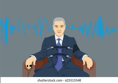 A man passes a lie detector test. Vector illustration