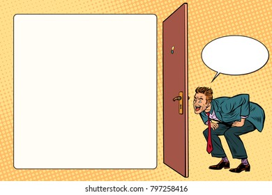 man peeping in the keyhole. Pop art retro vector illustration