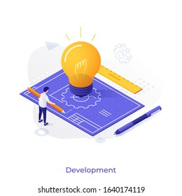 Man with pencil, blueprint or technical drawing and glowing lightbulb. Concept of project development, plan or scheme of innovative technology, creative idea. Modern isometric vector illustration.