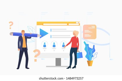 Man with pencil and woman standing at computer monitor vector illustration. Distance learning, examination, webinar. Online courses concept. Can be used for webpages, presentations, banners