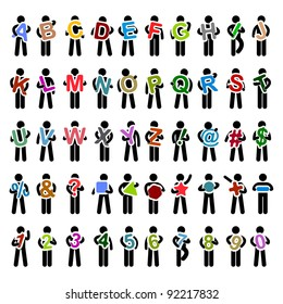 Man People Carrying Holding Colorful Alphabet Text from A to Z Icon Symbol Sign Pictogram